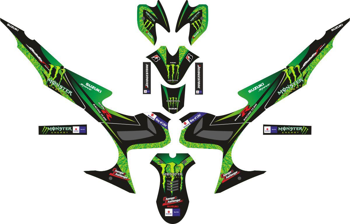 Комплект наклеек на скутер SUZUKI SATRIA FU MONSTER ENERGI HIJAU