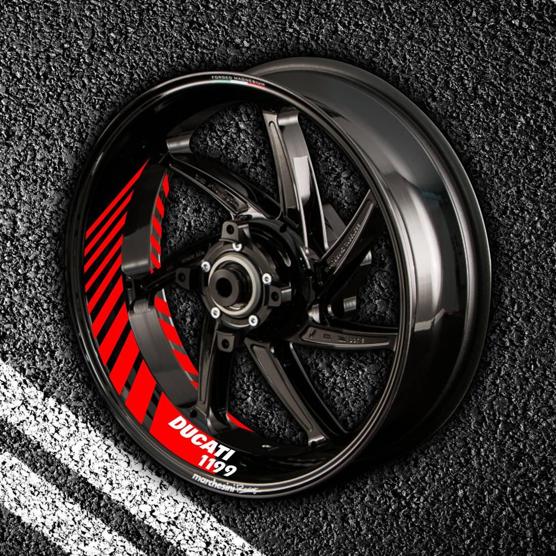 Комплект наклеек с полосами на колеса мотоцикла DUCATI 1199