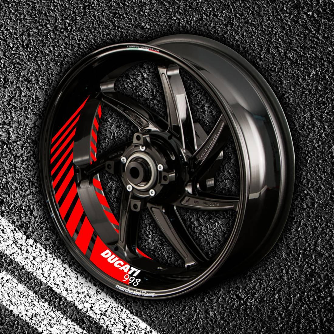 Комплект наклеек с полосами на колеса мотоцикла DUCATI 998