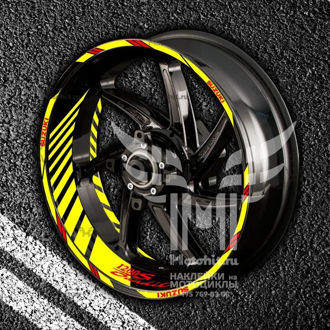 Комплект наклеек с полосами на колеса мотоцикла SUZUKI 1200-S-BANDIT