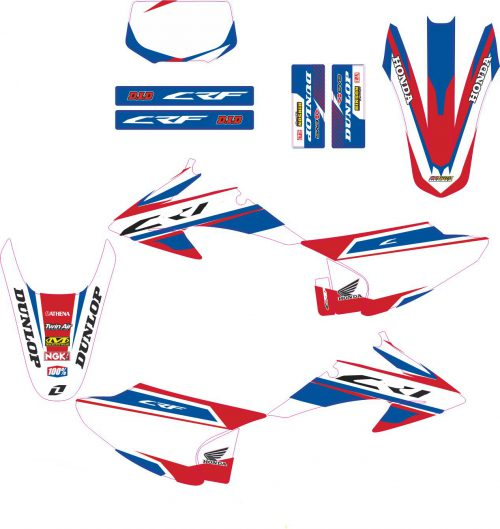Комплект наклеек на HONDA CRF-150-230 2008-2012 ORIG-BLUE