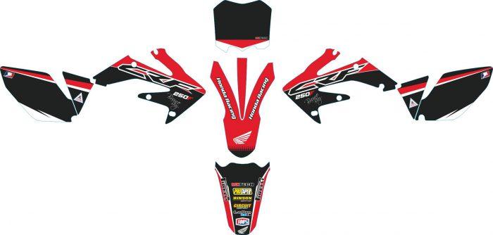 Комплект наклеек на HONDA CRF-250 2004-2009 CRF-450 2005-2008-BLACK-RED