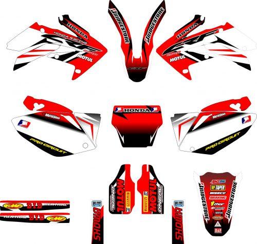 Комплект наклеек на HONDA CRF-250 2004-2009 CRF-450 2005-2008-RED-BLACK