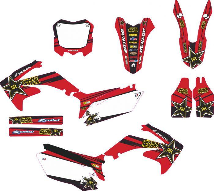 Комплект наклеек на HONDA CRF-250 2010-2013 CRF-450 2009-2012-RED-ROCKSTAR