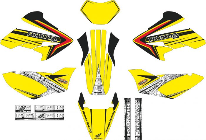 Комплект наклеек на HONDA XR-250 TORNADO-09 2001-2009
