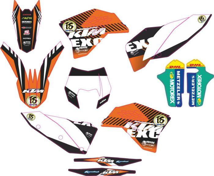 Комплект наклеек на KTM EXC 2008-2011 03