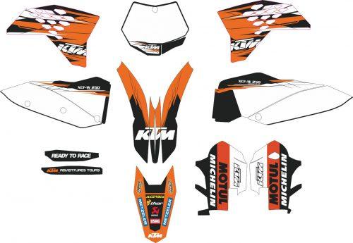 Комплект наклеек на KTM EXC-250 2008-2011