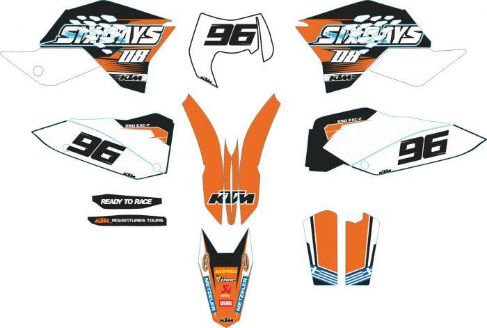Комплект наклеек на KTM EXC-F-250-2008-2011