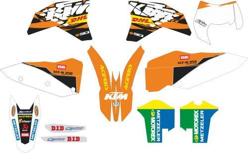 Комплект наклеек на KTM XCF-W-250 2011