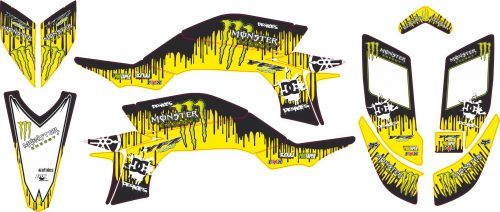 Комплект наклеек на YAMAHA YFZ-450R 2003-2008 KEN-BLOCK-YELLOW