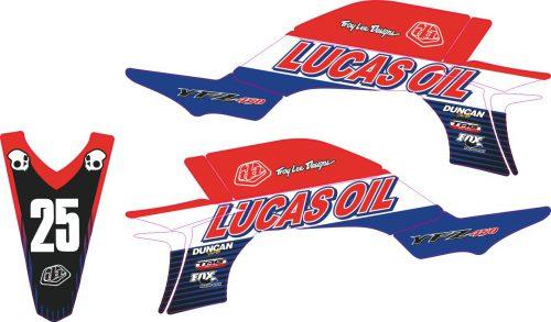 Комплект наклеек на YAMAHA YFZ-450R 2003-2008 LUCAS-OIL