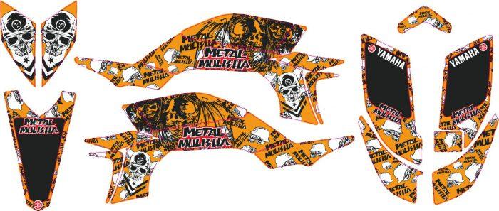 Комплект наклеек на YAMAHA YFZ-450R 2003-2008 METAL-ORANGE