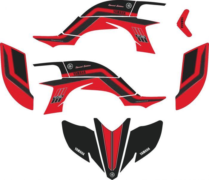Комплект наклеек на YAMAHA YFZ-450R 2003-2008 RED-BLACK