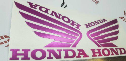 Наклейка Крылья Honda розовый хром