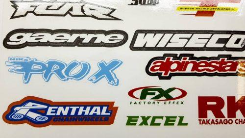 Лист с наклейками логотипы