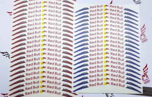 Комплект наклеек на колёса Red Bull синий с красным