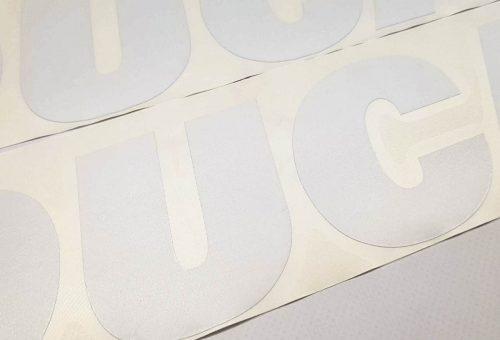 Наклейка большая белая надпись Ducati