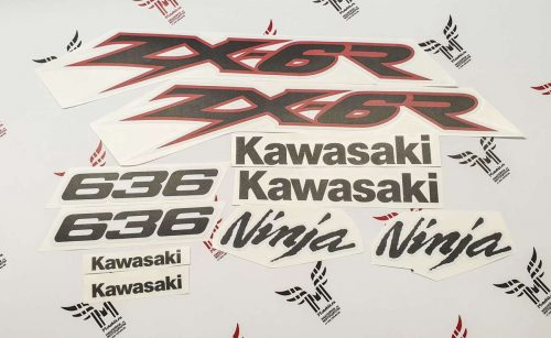 Комплект наклеек Kawasaki ZX-6R-636 2003 RED-WHITE