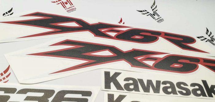 Комплект наклеек Kawasaki ZX-6R-636 2003 RED-WHITE
