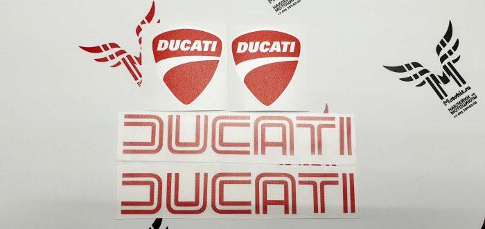 Комплект наклеек Ducati белый металлик с красным
