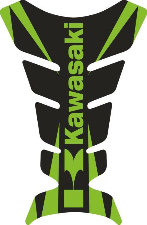 Объёмные 3D наклейки на бак Kawasaki green-black