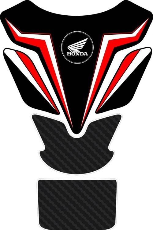 3D объёмная наклейка на бак Honda-black-red-flashes2