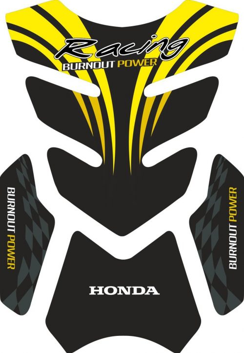 3D объёмная наклейка на бак honda-racing-yellow