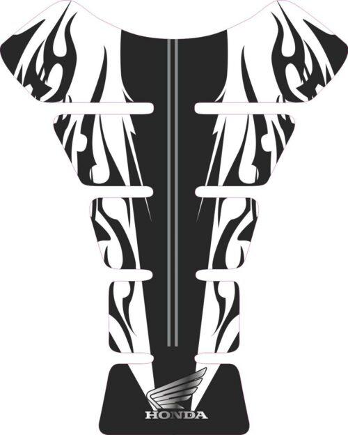 3D объёмная наклейка на бак Honda-white-black-flames
