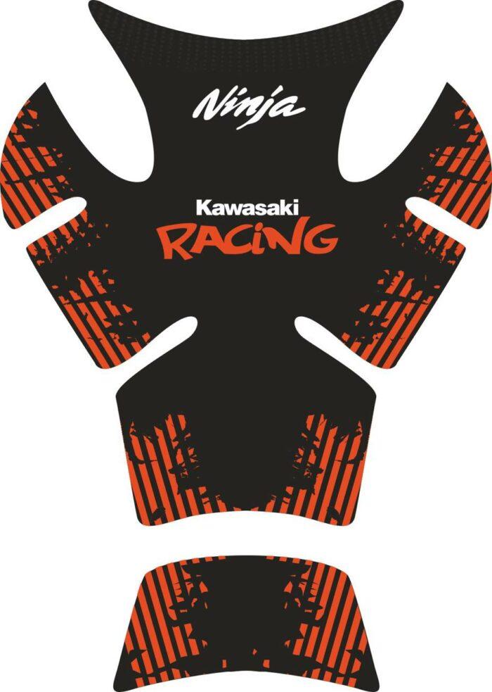 Объёмные 3D наклейки на бак Kawasaki racing-orange
