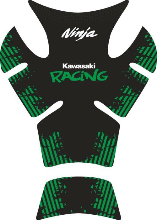 Объёмные 3D наклейки на бак Kawasaki racing-green