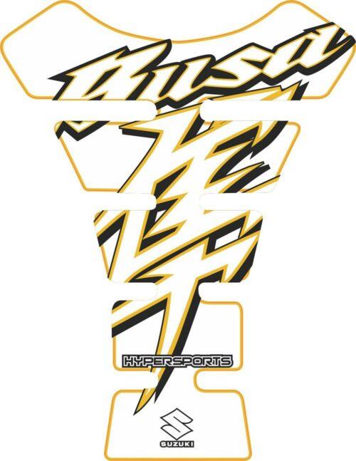 Объёмная 3D наклейка на бак Suzuki-Busa-white-yellow-black