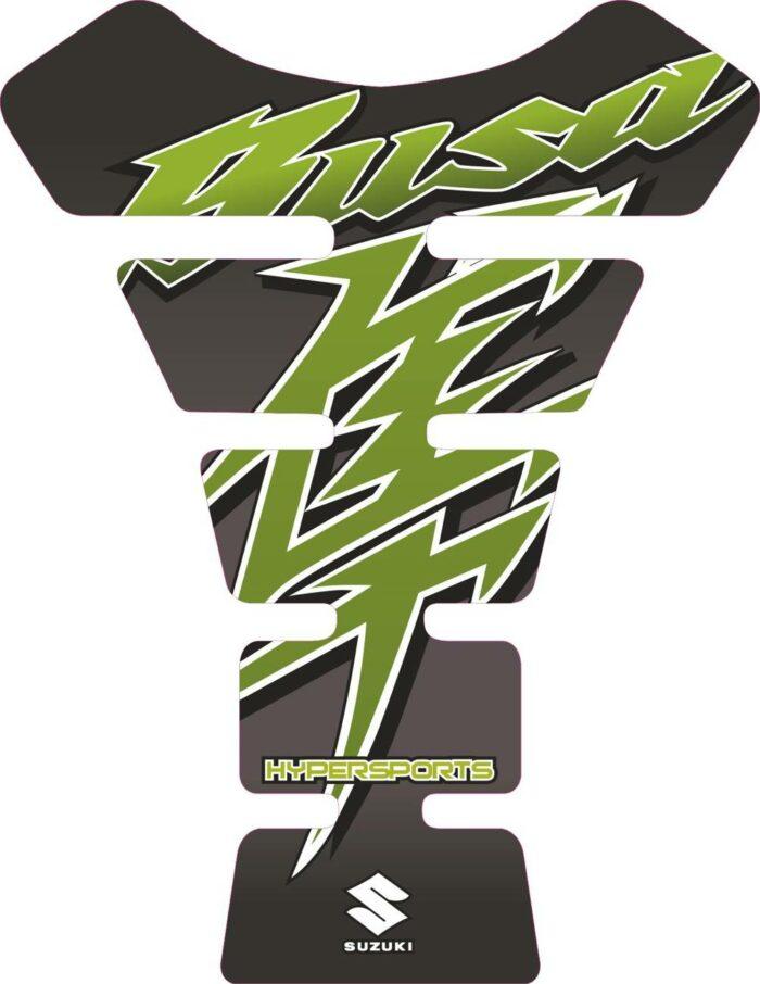 Объёмная 3D наклейка на бак Suzuki-Busa-black-green