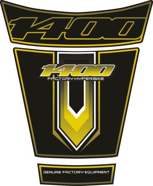 Объёмная 3D наклейка на бак Suzuki-1400-yellow-black