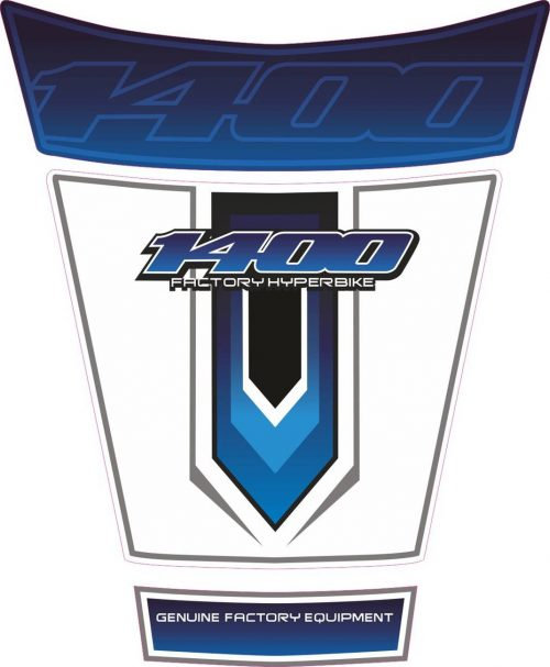 Объёмная 3D наклейка на бак Suzuki-1400-white-blue