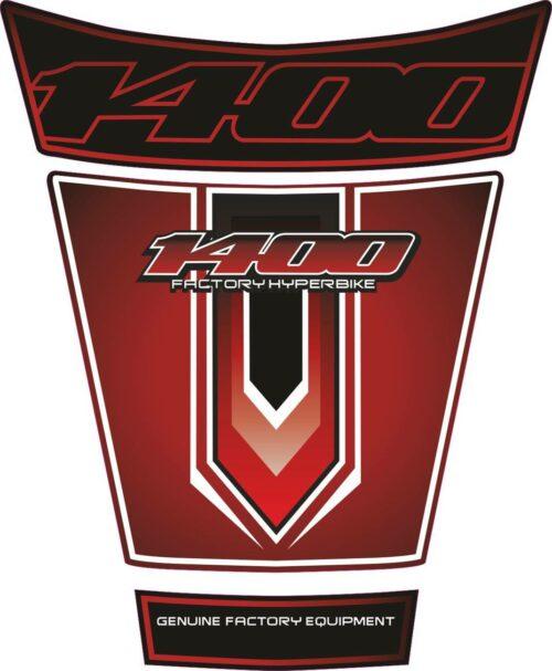 Объёмная 3D наклейка на бак Suzuki-1400-red-white