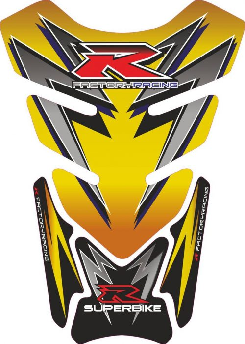 Объёмная 3D наклейка на бак Suzuki-R-yellow-black