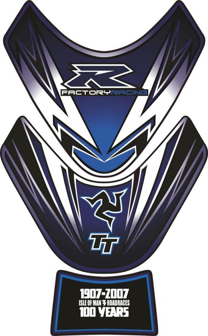 Объёмная 3D наклейка на бак Suzuki-R-100-years-white-blue