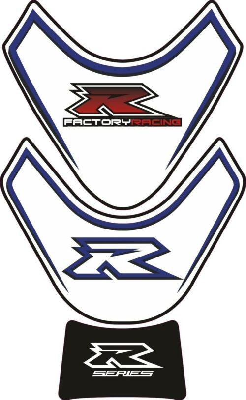 Объёмная 3D наклейка на бак Suzuki-R-series-white-blue