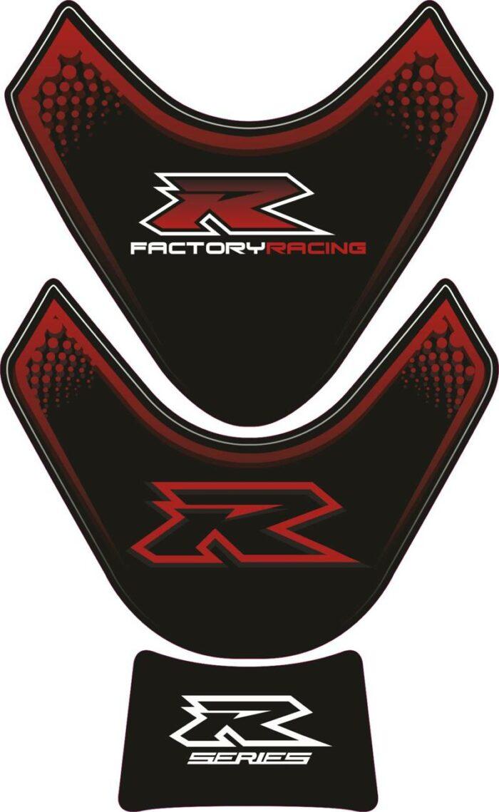 Объёмная 3D наклейка на бак Suzuki-R-series-black-red