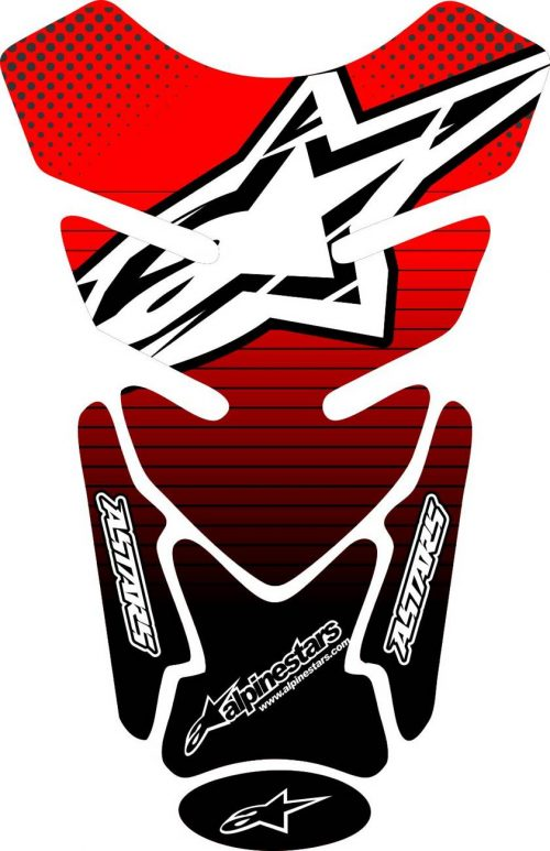 Объёмная 3D наклейка на бак мотоцикла Alpinestars-red